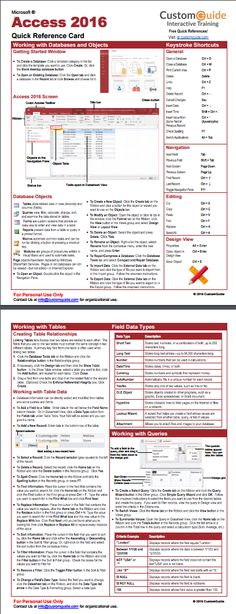Free Access 2016 Quick Reference Card. http://www.customguide.com/cheat_sheets/access-2016-quick-reference.pdf