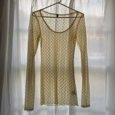 Free People polka dot lace top Free People polka dot lace top with long sleeves in cream. Free People Tops Tees - Long Sleeve