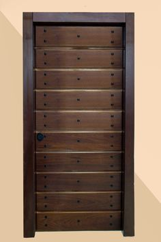 Handmade solid paneled design, with restored nails that provide a traditional tone. We also recommend a traditional door handle.  Offered in a variety of types of wood, as well as marine plywood. Water-based exterior paints, and water-based lacquer used.  Sabadoor