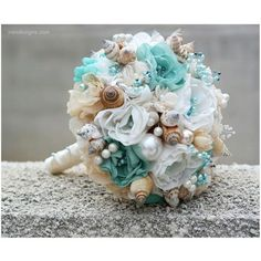 Seashells Wedding Bouquet for Beach Wedding. Turquoise and Beige... ($314) ❤ liked on Polyvore featuring home and home decor