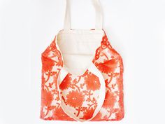 BAG // Uskesia // Handmade Coral Red Lace Canvas Tote Bag by EPUU, $46.00