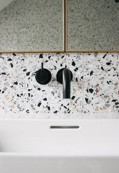 Can You Handle This Trend? - Terrazo - In case you didn't notice, the 'terrazzo' design trend is making a huge comeback this year, and we are already in love wi Interior Design Kitchen, Bathroom Interior, Modern Bathroom, Small Bathroom, Bathroom Black, Indian Bathroom, Ikea Bathroom, Interior Livingroom, Interior Plants