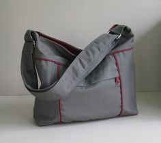 Sale - Grey Canvas Bag - Shoulder bag, Diaper bag, Messenger bag, Tote, Travel bag, Women, Unisex - KIRA. $39.00, via Etsy.