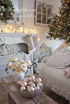 A shabby chic style Christmas that is not overly sweet with just the right touches of pinks