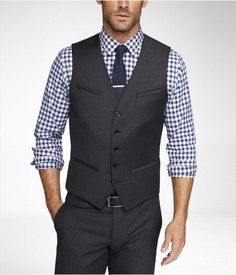 Mens Flannel Suit Vest Gray