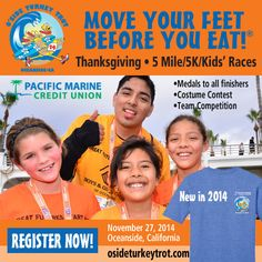 """Are you running the #Oceanside Turkey Trot this year? It's on Thanksgiving morning and gives you a chance to """"move your feet before you eat!"""""""