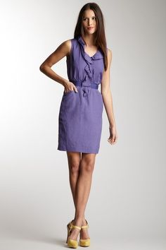 Elie Tahari Single Channing Dress - love the purple and yellow combo for spring