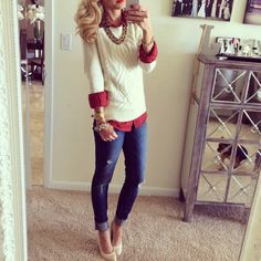 Red Button Down- Chain Necklace- White Sweater- Cropped Jeans- Nude Pumps - chunky bracelets