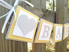 White Grey and Yellow Baby Shower | Baby Banner - Yellow and Grey Baby Shower - Yellow and Grey Nursery ...