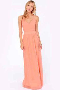 Lulu's Rooftop Garden Peach Maxi Dress | 50 Insanely Cute Prom Dresses Under $50