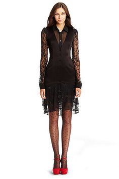 DVF Cathy Satin Embellished Tux Dress in in Black