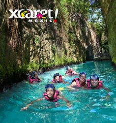 Xcaret is an archaeological park in Cancun that's  that combines learning about ancient history with a fun day at the beach-- and there's a little bit of eco-tourism and theme park thrown in as well. One of the must-see attractions at Xcaret is, without a doubt, the underground rivers. They take you past Mayan ruins and into mysterious caves-- and all you have to do is put on your life jacket, sit back and relax because the refreshing stream's current will just carry you along.