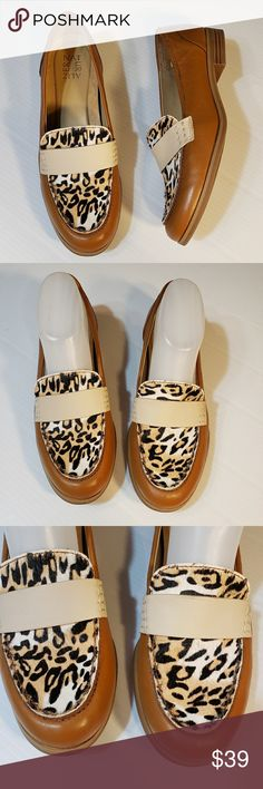 88762f0db3 Naturalizer Veronica Leopard Leather Loafer 8.5M Super cute and comfy tan  loafers with leopard calf hair vamp Size 8.5M Naturalizer Shoes Flats    Loafers
