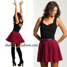 Kiss & Tell skirt in wine