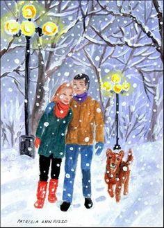 """""""Walking Home in the Snow"""" - Original Fine Art for Sale - © Patricia Ann Rizzo"""