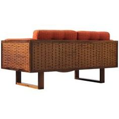 Poul Cadovius Small Rosewood Sofa in Orange Fabric Upholstery