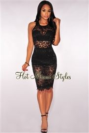 Black Lace Racer Back Dress