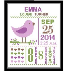 1 Cross Stitch custom Pattern Baby Girl Personalised Birth Announcement Birth Record Bird Purple Green Brown Nature Woodland Nursery Gift by ZindagiDesigns on Etsy