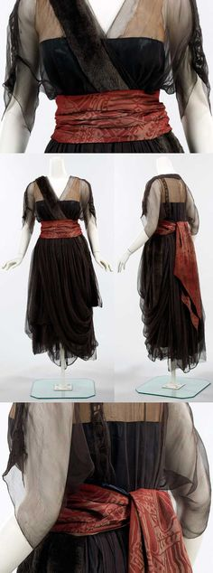 "Dinner dress, House of Drécoll, France, 1914-1916. Silk and fur. From Metropolitan Museum of Art site: ""This dress shows a dramatic sense of style, exemplified [by] the use of ciré satin accented by the burgundy silk sash at the waist. The combination of such sumptuous materials was typical of the period, done by other couturiers as it added an extra element of luxury and refinement."""