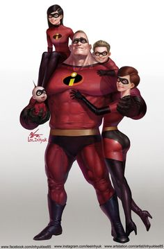 The Incredibles – fan art by InHyuk Lee Cartoon Cartoon, Cartoon Characters, Comic Character, Character Concept, Character Design, Disney Fan Art, Disney And Dreamworks, Disney Pixar, Punk Disney