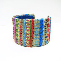 Colorful Striped Cuff, Friendship Inspired, Embroidery on Linen, Boho Bangle, Fiber Art Bracelet, Embroidery Sampler, Rainbow Colors