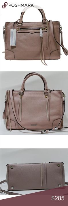 "Rebecca Minkoff Satchel Rebecca Minkoff Regan Satchel : Vintage Pink/Silver Style: HF16EPBS31. Rebecca Minkoff adds a new silhouette to her impressive repertoire with the Regan satchel, a right-sized every day option equipped with an optional crossbody strap and chic, moto-inspired accents like studs and whipstitch trim. Double handles, detachable adjustable crossbody strap Zip closure. Exterior zip pocket, interior zip pocket, three interior slip pockets.  13.25""L x 5""W x 9.5""H; 5"" handle…"
