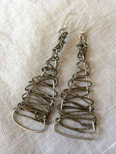 Wire Wrapped Earrings, Textile Earrings, Earrings, Hand Wrought Wire Wrapped Earrings