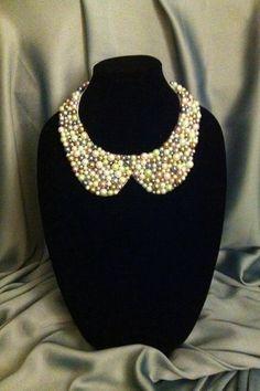 Peter pan pearl collar necklace by HandmadeByAnastasia on Etsy