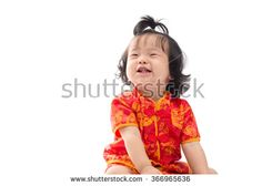 Cute Asian baby girl in traditional Chinese suit Isolated on white background, Chinese New Year Concept - stock photo