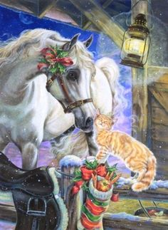 Illustration by Donna Race Christmas Horses, Cowboy Christmas, Christmas Animals, Christmas Cats, Christmas Decor, Country Christmas, Christmas Stocking, Christmas Wreaths, Merry Christmas