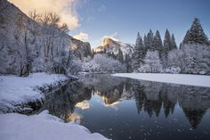 """Winter Wonderland - Beautiful evening overlooking half dome along the Merced River in Yosemite National Park, California. <a href=""""http://www.facebook.com/SusanHoltPhotography?ref=hl"""">Follow me on Facebook</a> <a href=""""http://www.susanholtphotography.com/"""">Visit My Website</a>"""