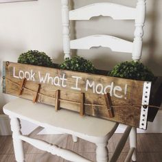 Rustic Handmade Look What I Made Childs Art Display Sign Farmhouse Style Wall Hanging Decor