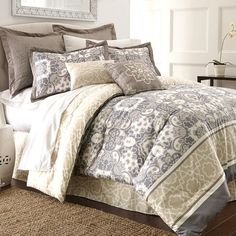 Refresh your master suite or guest room with this cozy 8-piece comforter set, showcasing a medallion-inspired motif for eye-catching appeal.