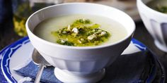 Potato and garlic soup with toasted hazelnut relish