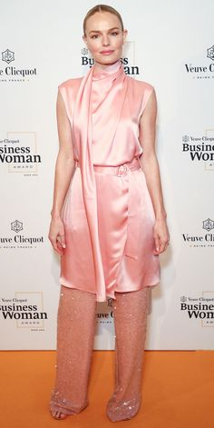 Kate Bosworth in Sally LaPointe outfit, dress over pants, sequin pants Dubai Fashion, Star Fashion, Fashion Fashion, Runway Fashion, Business Chic, Business Outfits, Kate Bosworth Style, Dress Over Pants, Veuve