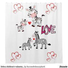 Zebra children's valentine's showercurtain white