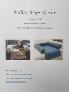 Sewing Pattern #1027 - for you to make a Pet Bed for Sofa or Chair