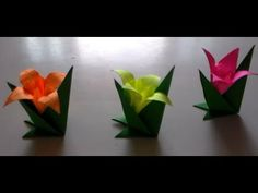suporte para lírio-JAK Gato Origami, Origami And Kirigami, Origami Easy, Origami Paper, Flower Crafts, Diy Flowers, Flower Art, Paper Flowers, Diy And Crafts