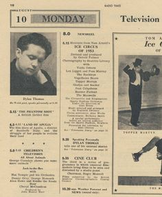 Dylan Thomas's second (of 2) television appearances listed in the Radio Times. On August 10 1953 Dylan reads A Story (aka The Outing) live from the Dean's Library, St Asaph. No video footage is known to exist, but the audio recording survives in the BBC archives.  #DylanThomas  #Books