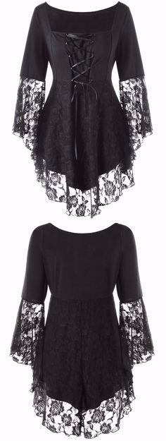 Plus Size Square Collar Lace Hem Top