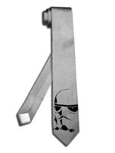 "star wars Stormtrooper 2"" skinny thin slim silver grey necktie tie"
