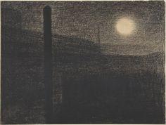 Georges Seurat (French, Paris Paris), Courbevoie: Factories by Moonlight, Conté crayon. Georges Seurat, Pierre Bonnard, Nocturne, Statues, Post Impressionism, Chiaroscuro, Conte, Vincent Van Gogh, Painting Techniques