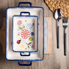 Bake Beautifully~ Blue Floral Ceramic Baking Casserole Dish Oven/Microwave/Dishwasher Safe Craft: Under-glazed, with hand-painted design Non-toxic glaze, lead and cadmium free; each dish is exposed to two high temperature firings. Baked Rice, Oven Baked, Cooking Supplies, Kitchen Supplies, Kitchenware, Tableware, Ceramic Bowls, Kitchen Dining, Diy Kitchen