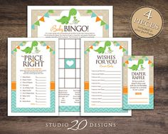 Instant Download Dinosaur Baby Shower Games for Boy Baby Shower by Studio20Designs. This dinosaur theme baby shower game package includes BINGO, The Price Is Right, Wishes for Baby and a Diaper Raffle. Print in the comfort of your own home or take to your local printer...your choice!
