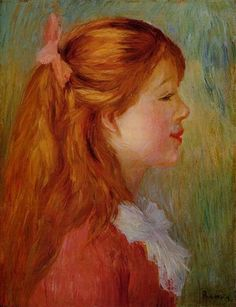 1890 - Young Girl with Long Hair in Profile - Pierre-Auguste Renoir