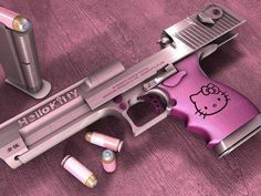 This actually exists. It's a Desert Eagle .50 caliber handgun. And yes, it's hello kitty themed. Get over it. :)