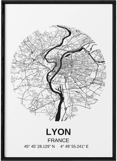 Ville France, Lyon France, Plan Ville, France Tattoo, Lyon City, Format A3, City Map Poster, Art Courses, Rhone