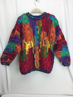 Vintage Coogi Australia Rainbow Sweater Large 1990s Beautiful Sweater #COOGI #Crewneck