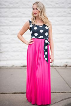 Walking By Polka Dot Pleated Maxi Dress (Navy)
