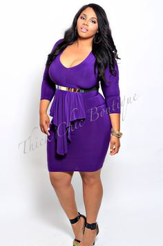 Peplum Front Dress, $41.99 by Thick Chic Boutique